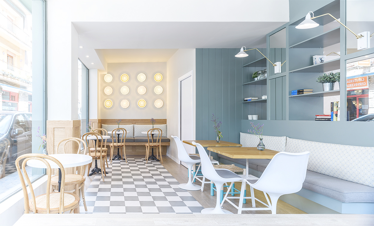 Reportaje fotografía interiorismo arquitectura Javier Bravo Santos Miguelena Panadería Panisimo Madrid