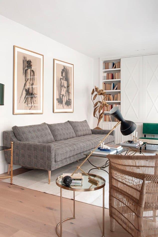 Estudio María Santos Reforma integral y decoración de vivienda minimalista Madrid salón sofá tartán gris