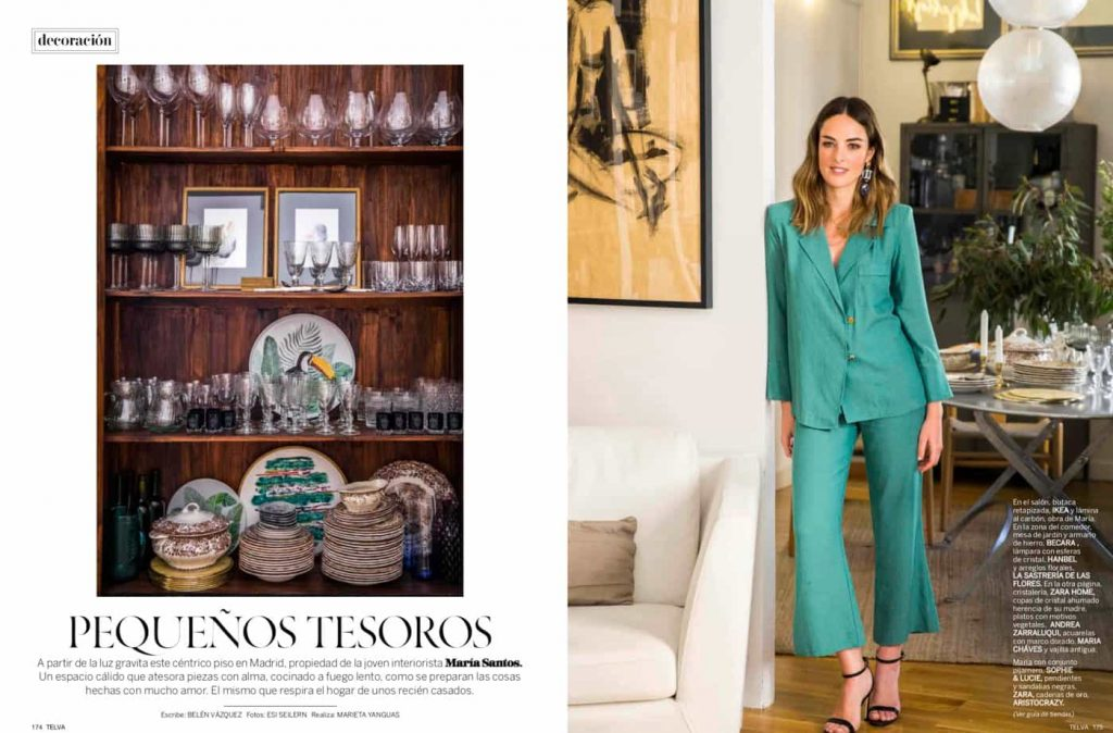 Estudio María Santos Reforma integral y decoración de vivienda minimalista Revista Telva Novias Septiembre 2018 Pequeños tesoros